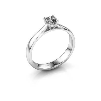 Bague de fiançailles Sam 585 or blanc diamant synthétique 0.30 crt