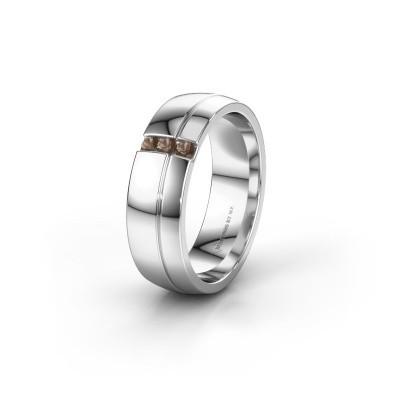 Wedding ring WH0223L56A 585 white gold smokey quartz ±6x1.7 mm