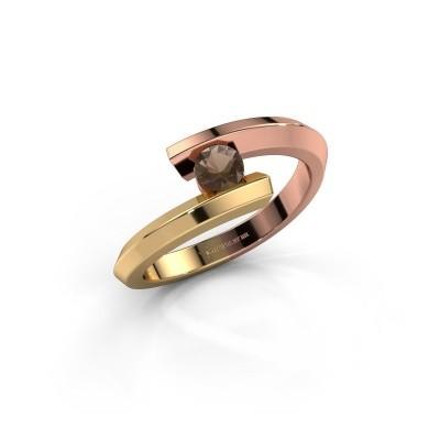 Ring Paulette 585 rosé goud rookkwarts 3.4 mm