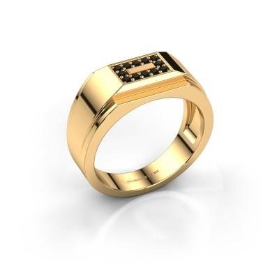 Foto van Heren ring Roan 375 goud zwarte diamant 0.216 crt
