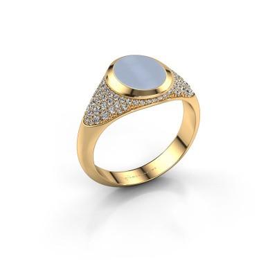 Signet ring Susana 585 gold light blue sardonyx 10x8 mm