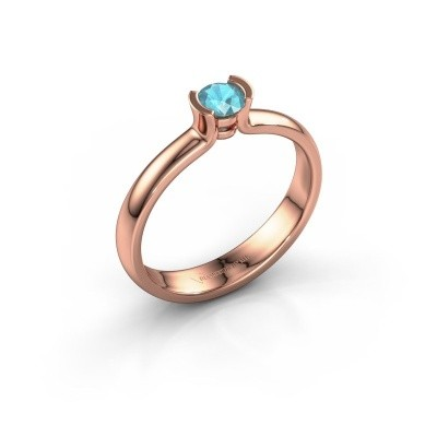Engagement ring Ophelia 375 rose gold blue topaz 4 mm