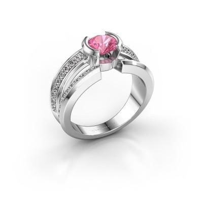 Foto van Heren ring Rowan 375 witgoud roze saffier 6.5 mm