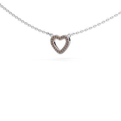 Foto van Hanger Heart 4 585 witgoud bruine diamant 0.055 crt