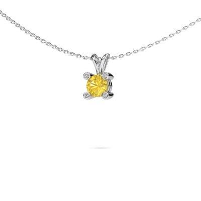 Foto van Hanger Fleur 925 zilver gele saffier 5 mm