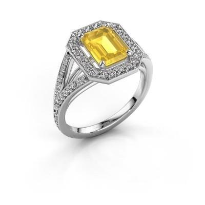 Foto van Promise ring Angelita EME 585 witgoud gele saffier 8x6 mm