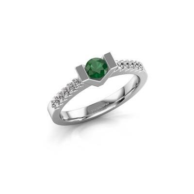 Verlovingsring Sherley 2 585 witgoud smaragd 4 mm
