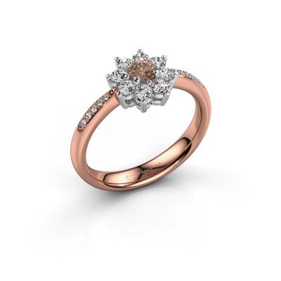 Verlovingsring Camille 2 585 rosé goud bruine diamant 0.15 crt