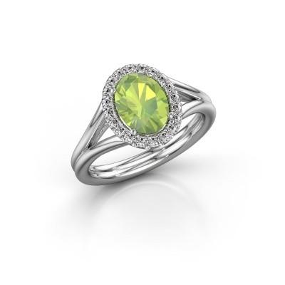 Engagement ring Rachele 1 950 platinum peridot 8x6 mm