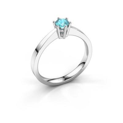 Engagement ring Noortje 950 platinum blue topaz 4 mm