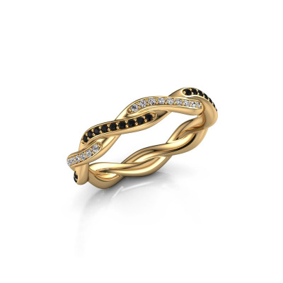Vorsteckring Swing full 375 Gold Schwarz Diamant 0.396 crt