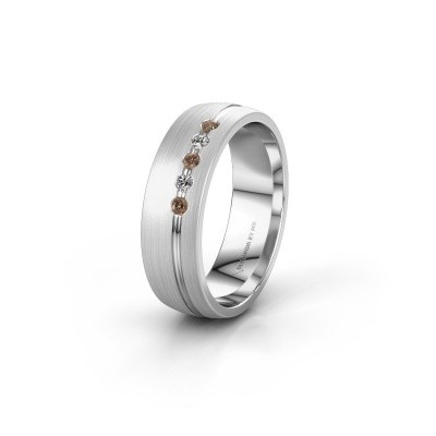 Trouwring WH0323L25AM 585 witgoud bruine diamant ±6x1.7 mm