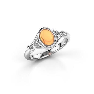 Foto van Ring Scarlett 950 platina citrien 7x5 mm