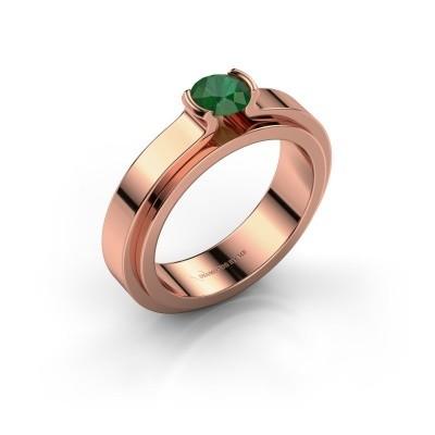 Foto van Verlovingsring Jacinda 585 rosé goud smaragd 4.7 mm