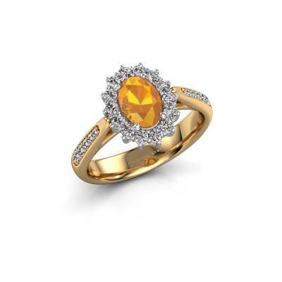 Engagement ring Margien 2 585 gold citrin 7x5 mm