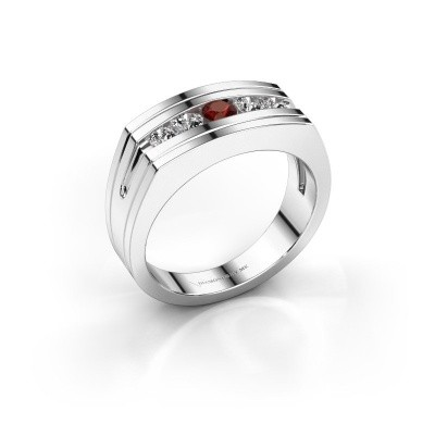Foto van Heren ring Huub 585 witgoud granaat 3.7 mm