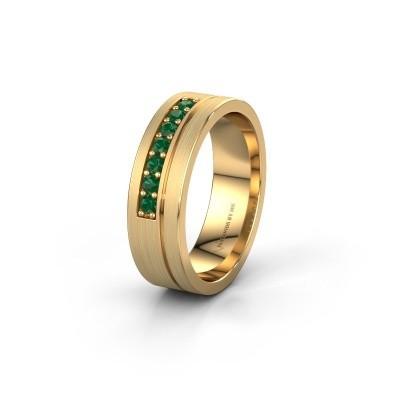 Trouwring WH0312L16AM 585 goud smaragd ±6x1.7 mm