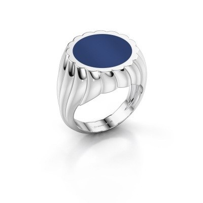 Foto van Zegelring Mano 375 witgoud lapis lazuli 13 mm