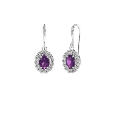 Picture of Drop earrings Jorinda 2 950 platinum amethyst 7x5 mm