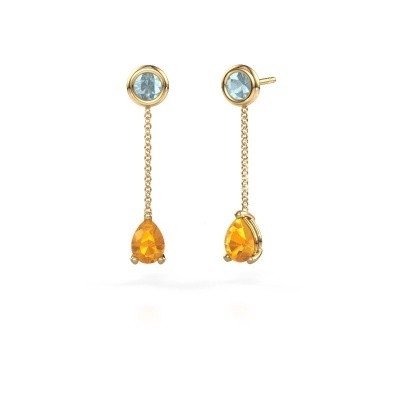 Picture of Drop earrings Laurie 3 375 gold citrin 7x5 mm