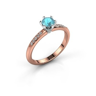 Picture of Engagement ring Tiffy 2 585 rose gold blue topaz 4.7 mm