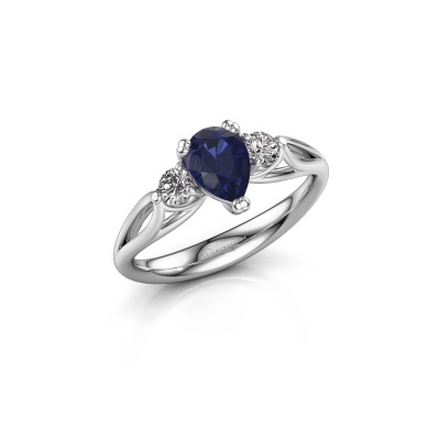 Picture of Engagement ring Amie per 585 white gold sapphire 7x5 mm