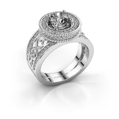 Ring Joy 585 witgoud zirkonia 6.5 mm