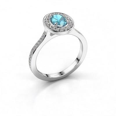Ring Madelon 2 950 platina blauw topaas 7x5 mm