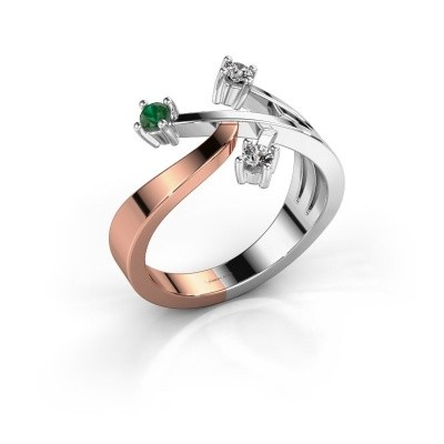 Ring Lillian 585 rosé goud smaragd 2.5 mm