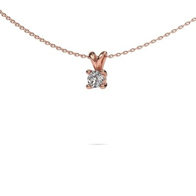 Foto van Ketting Sam round 375 rosé goud lab-grown diamant 0.30 crt