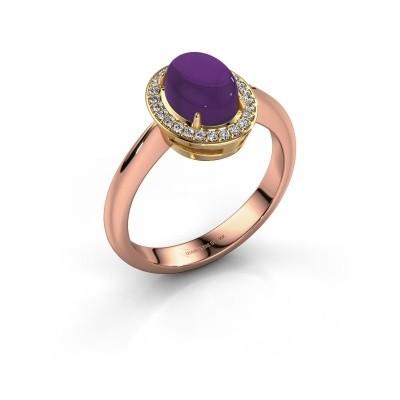 Ring Kristian 585 rosé goud amethist 8x6 mm