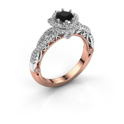 Foto van Verlovingsring Lysanne 585 rosé goud zwarte diamant 1.05 crt