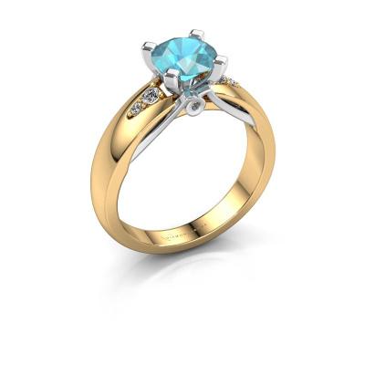 Engagement ring Ize 585 gold blue topaz 6.5 mm