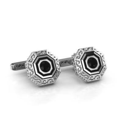 Foto van Manchetknopen Dion 925 zilver zwarte diamant 1.20 crt