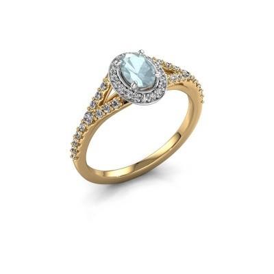 Belofte ring Pamela OVL 585 goud aquamarijn 7x5 mm