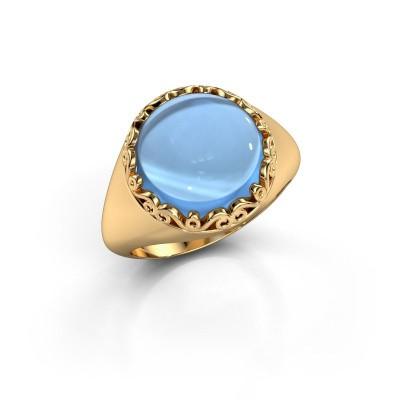 Ring Birgit 585 goud blauw topaas 12 mm