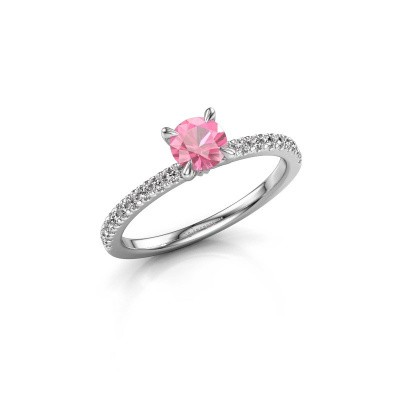 Picture of Engagement ring Crystal rnd 2 950 platinum pink sapphire 5 mm