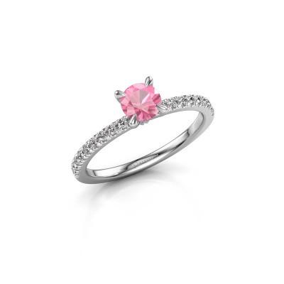 Foto van Verlovingsring Crystal rnd 2 950 platina roze saffier 5 mm