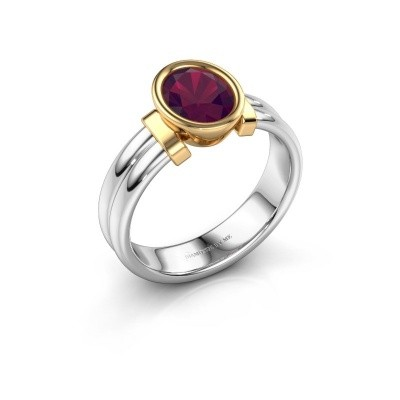 Bague Gerda 585 or blanc rhodolite 8x6 mm