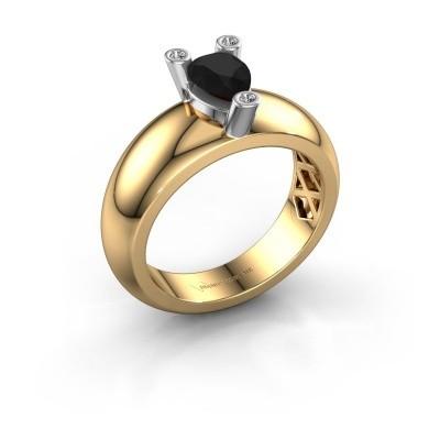 Ring Cornelia Pear 585 Gold Schwarz Diamant 1.00 crt