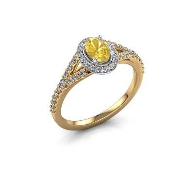 Belofte ring Pamela OVL 585 goud gele saffier 7x5 mm