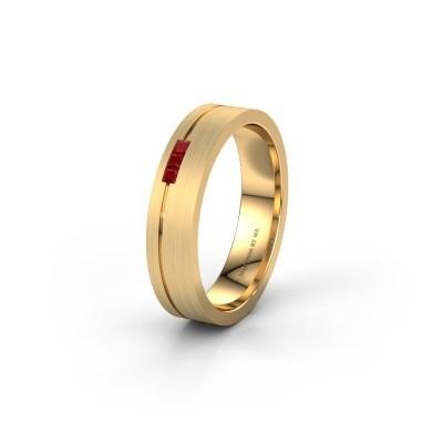 Trouwring WH0158L14X 375 goud robijn ±4,5x1.4 mm