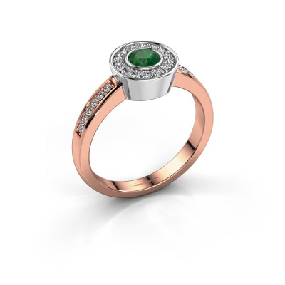 Ring Adriana 2 585 rosé goud smaragd 4 mm
