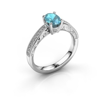 Verlovingsring Shonta OVL 950 platina blauw topaas 7x5 mm