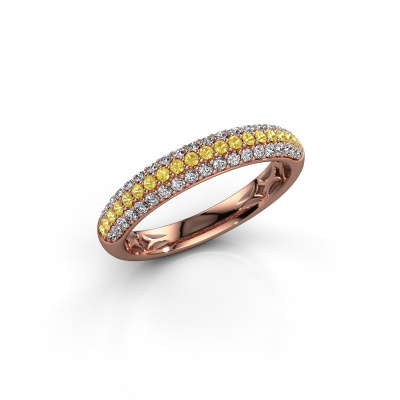 Foto van Ring Emely 2 585 rosé goud gele saffier 1.3 mm