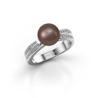 Bild von Ring Jolies 925 Silber Braun Perl 8 mm