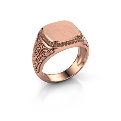 Heren ring Jesse 2 375 rosé goud bruine diamant 0.255 crt