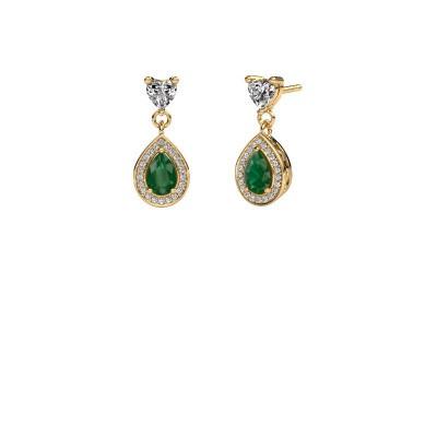 Drop earrings Susannah 375 gold emerald 6x4 mm