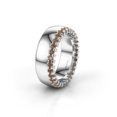 Wedding ring WH6120L27C 925 silver brown diamond ±7x2.2 mm