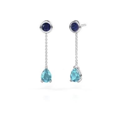Oorhangers Laurie 3 585 witgoud blauw topaas 7x5 mm